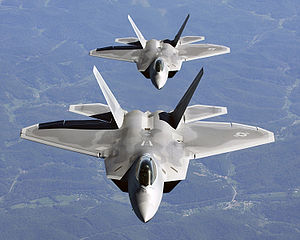 300Px-Two F-22A Raptor In Column Flight - (Noise Reduced)