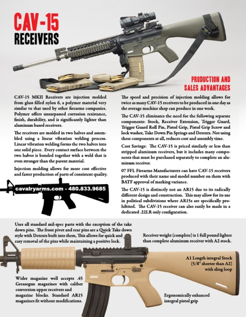 CAV-15 polymer AR-15 lower recievers back in production -The