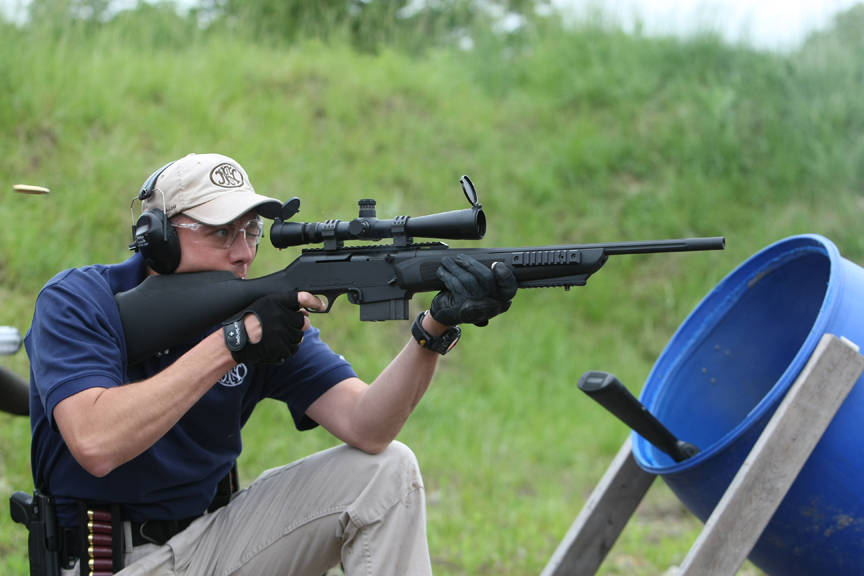 The rifle is the FNAR   Tactical Browning Automatic Rifle