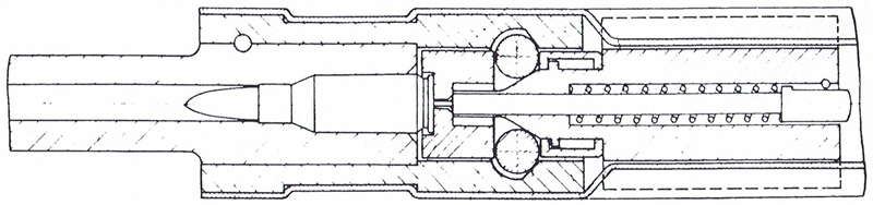 Diagram of StG-45(M) locking system from von Lossitzer's notebook