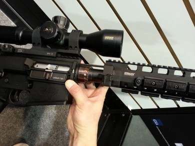 Once the latches are open the handguard quickly slides off. A barrel change then requires a special wrench.