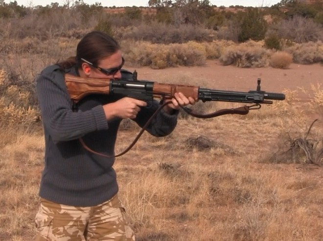 Shooting an SMG reproduction FG-42 rifle