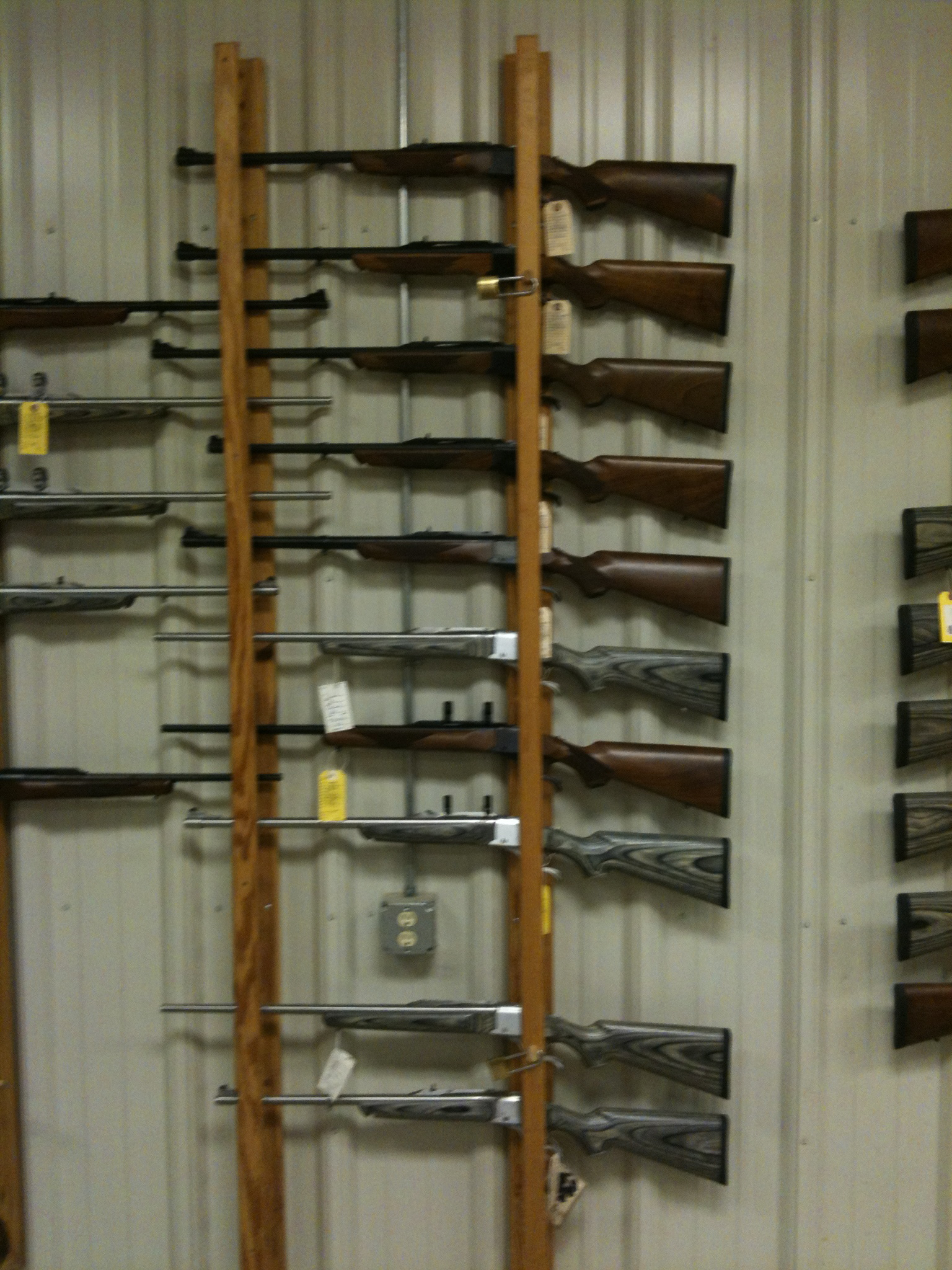 The Ruger No.1 single shot rifle section. Each rifle was a different caliber with the exception of some. Next to this wall were also some Dakota Arms single shot rifles. Where are the old Remington rolling blocks, Winchester Low Walls and High Walls? In the rare firearms section.