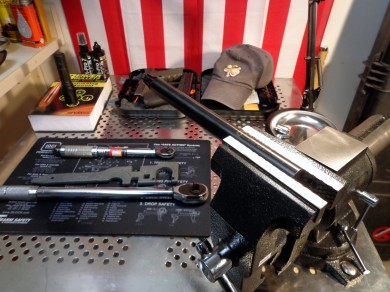 The Geissele reaction rod requires a heady duty vise to work properly.