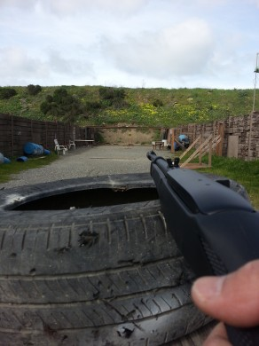 Shooter's perspective with the Ruger 10/22 Takedown. Note the author's high-tech rifle rest.