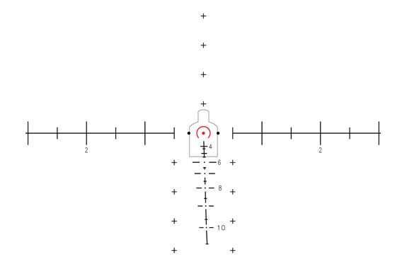 SDO Reticle Mil scale as depicted in T M 11758A-OR. For range estimation of a human target, the average measurement of a height of 1.5 meters and a chest width of 19 inches is used. For a man sized target at 100 meters, the shoulders will touch the two mil dots opposite the center red dot. For 200 meters, shoulders will touch the lateral sides of the illuminated horse shoe and for 300 meters, shoulders will touch the two disconnected end at 6 o'clock. For 400 and 500 meters shoulders will align with the lateral line at 4 and unmarked 5. From 600-1000 meters the shoulders will fit between the respective mil dots and lateral mil scales. For vehicle estimation the tires will fit between the mil dot and the end of the solid lateral mil line in the front/rear view and from edge of mil line to mil line in the side view.