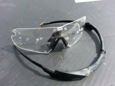The first shot separated the lens and frame, but none of the BBs penetrated the polycarbonate lens.
