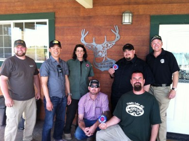 Our NRA trainers, Denise and Ted, with a batch of newly minted NRA Certified Instructors.