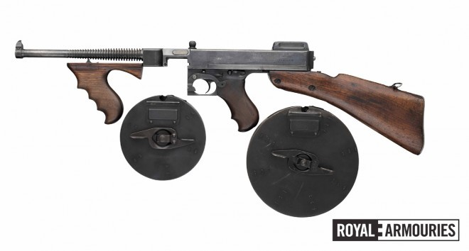 Thompson M1921 serial # 212 (PR.7704) with Type C (100 round) and Type L (50 round) drum magazines. © Royal Armouries
