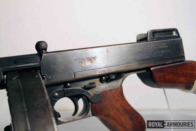 Markings on Thompson M1921 serial # 1234 (PR.7398), including obliterated serial number. © Royal Armouries