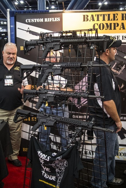 Four of the BRC AR platform weapons on display at the NRA show.