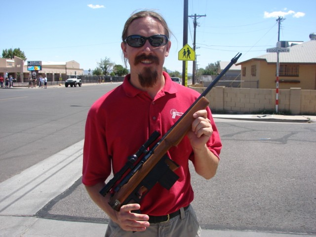 Ian with a prize from the Phoenix gun buy-back