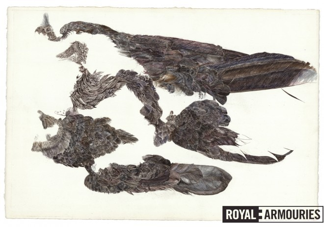 Adapting the feathers to the shapes found on the gun © Royal Armouries