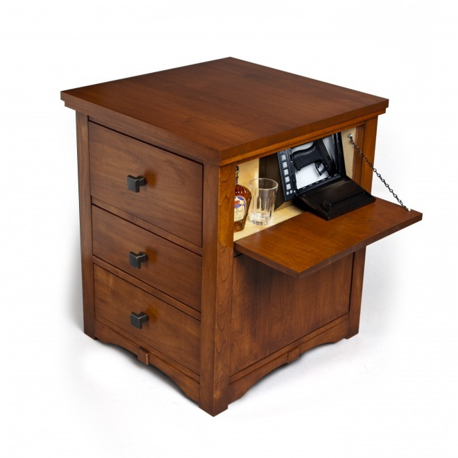 The OnionSafe Made By A New Company Of Same Name Is Hardwood Nightstand That Incorporates Handgun Lockbox Concealed Inside Side Panel And Larger