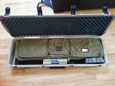 The Brownell's 3-gun case inside of an SKB hard case. Great for traveling.