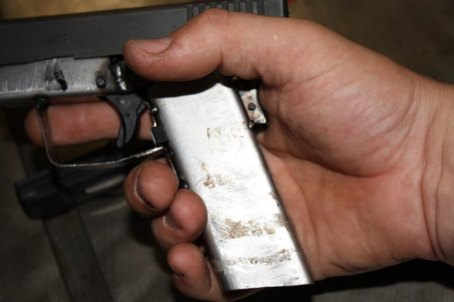 Grasping the iron frame you can see that there is a large void that's filled in an actual Glock