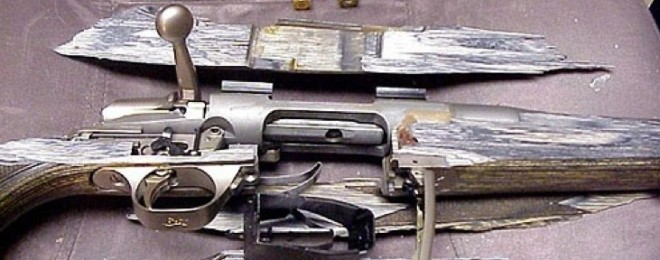 6mmBR (left) and .223 WSSM (right) cartridges above the remains of Browning A-Bolt rifle.