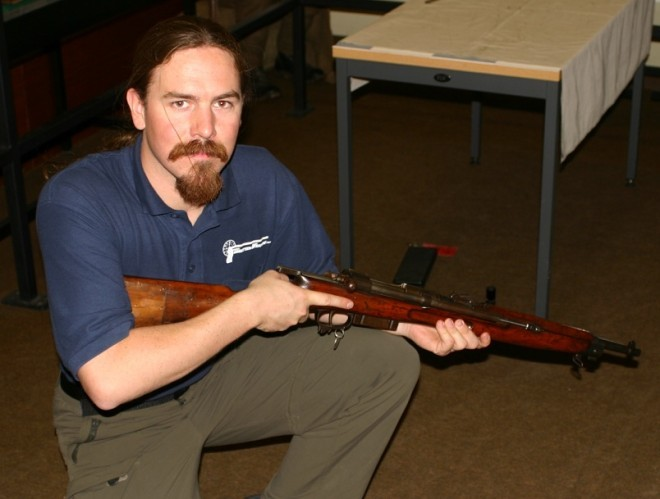 Author with a Cei-Rigotti rifle, courtesy UK MoD