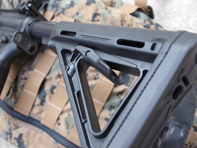 The Magpul MOE stock, standard on the CDI.