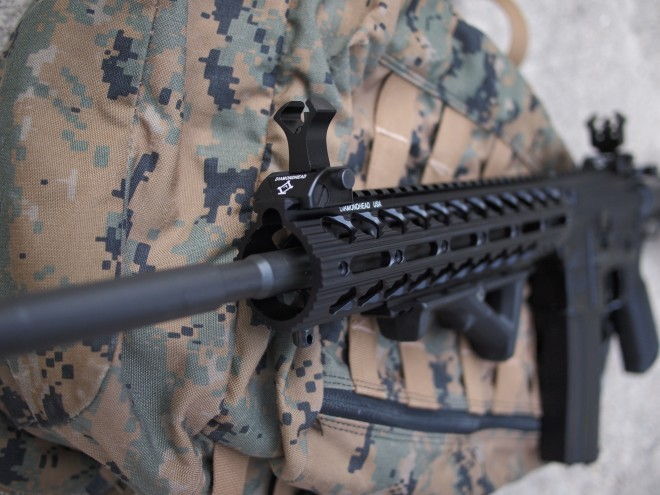 A good view of the Diamondback quad rail from the rifle's business end.