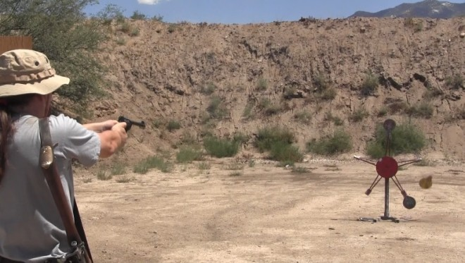 Author engaging a Texas Star with a No2 MkI* Enfield revolver