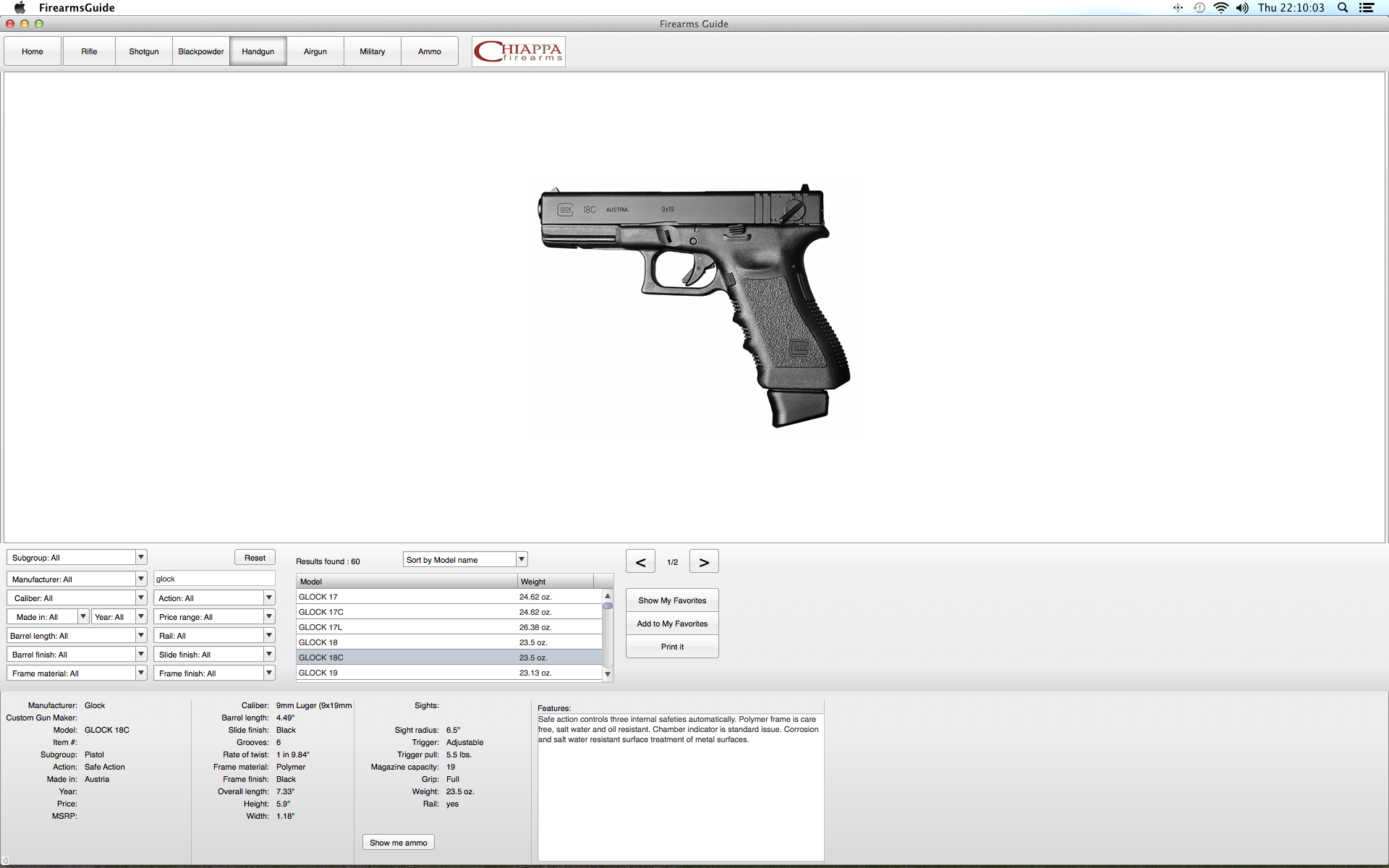 Glock 18C search result.