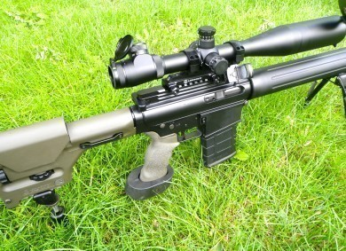LR308 with optics, including Leupold LR/T 6.5-20x50 and Burris FastFireII on offset rail.