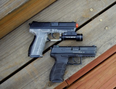 Training with the airsoft pistol allowed me to familiarize myself to the Heckler and Koch P30 at night.