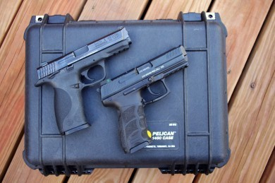Heckler and Koch P30 alongside a Smith and Wesson M&P.