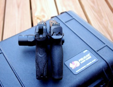 Heckler and Koch P30. Smith and Wesson M&P. Width and bore axis comparison.