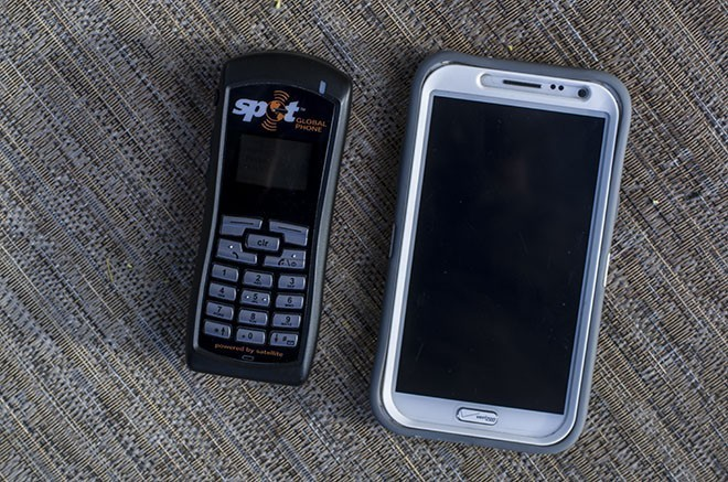 Next to my Samsung Galaxy Note 2, the Global Phone looks rather diminutive from the front.