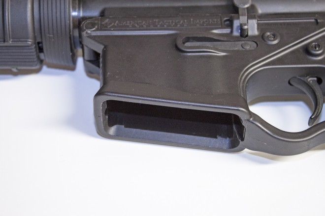 """Out of spec magewell.  This magwell is .003"""" too wide and long, making the magazine unstable."""