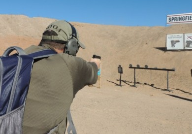 The author shooting the XDs 4.0 at Media Day.  Knocking down steel poppers at 15 yards was no problem with the XDs 4.0.