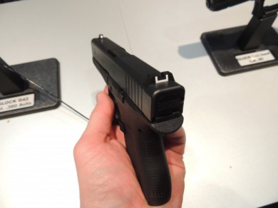 Standard Glock white dot and bar sights in polymer.
