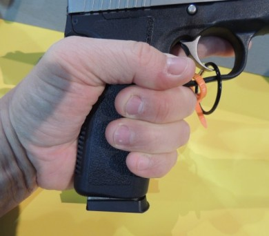 Observe the long grip of the CT45 extending past my hand.