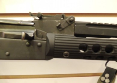 The Troy AK-47 short bottom rail attachment to the receiver.