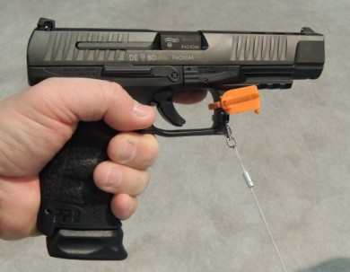 Author holding the PPQ M2 off-hand.  Note the natural high hand placement and full grip from the ergonomic design.