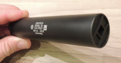 An angled view of the slim GM-22 with Gemtech machined logo.