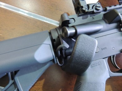"""The Magpul Gray furniture that I had seen in the """"New Products"""" section.  A softer """"black"""" gun approach I suppose."""