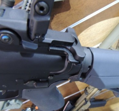 The Magpul MBUS rear sight, and STR carbine storage stock also in Magpul gray.