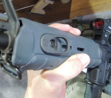 The Magpul AR-15 with Magpul gray MOE hand guard.  Note the new MOE hand guard sling attachment mount.  A QD version was also announced this year.