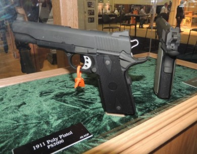 The 1911 Poly in its case on the SHOT Show floor.