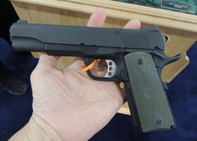 Note the speed trigger, OD grip choice, extended magazine release, and beavertail grip safety.