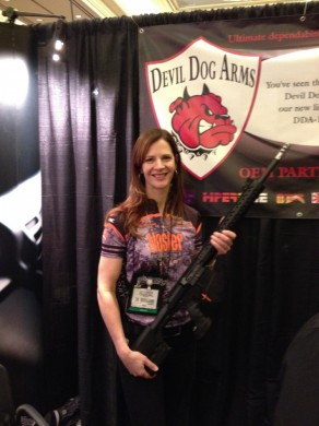 Holding the black version of the Devil Dog Arms DDA-10B rifle in 308