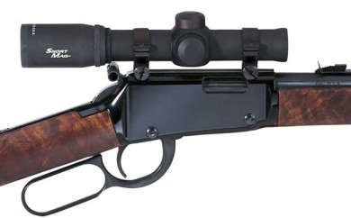 The Henry with scope and optional hammer extension.