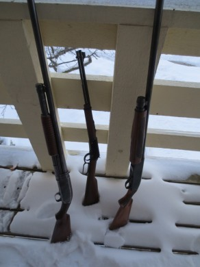 The Henry doesn't look out of place next to a 50 and 100-year-old shotguns