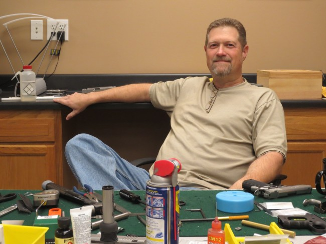 Jay Morley, the President of Schroeder Bauman right at home behind an assembly table.