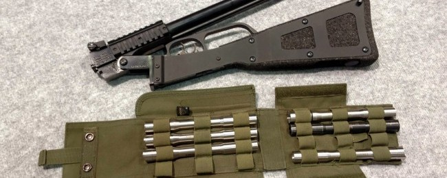 The X-Caliber in 12-gauge. Note the double triggers and picatinny rails.