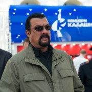Actor Steven Seagal at the Kalashnikov booth at SHOT Show.