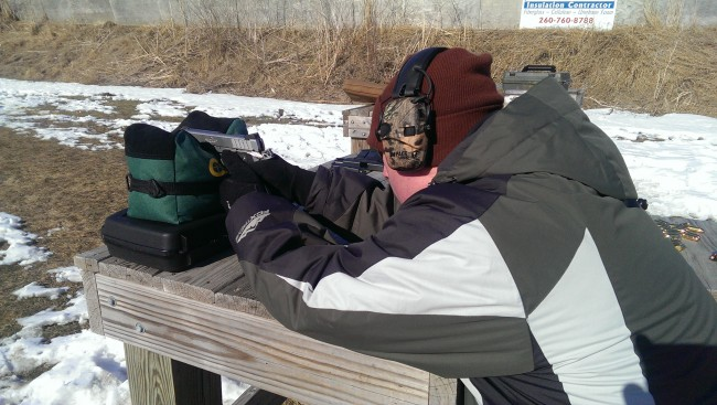 Tim shooting for accuracy on the Caldwell rest. The crisp trigger made it easy to break good shots, but Tim was pulling shots right as he jerked it.